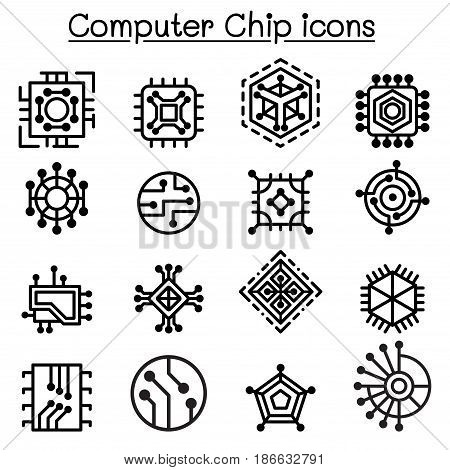 Computer Chips and Electronic Circuit icons in thin line style