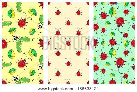 Seamless Vector Pattern With Insect. Cute Hand Drawn Endless Background With Childish Ladybugs, Mosq