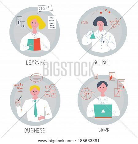 People of science business and students - infographic set vector illustration