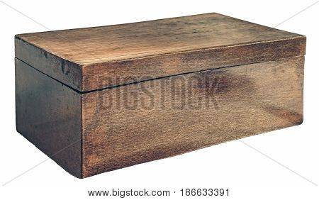 Old wooden jewelry box, isolated on white