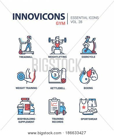 Gym - modern color vector single line icons set. Treadmill, man, woman, weight, lift, exercycle, kettlebell, boxing, gloves, bodybuilding, equipment, records, log, sportswear