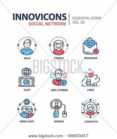 Social Network - modern color vector single line icons set. Male, female person, message, text, letter, chat, globe, add, friend, like, thumbs up, saving pig, video, search, mouse, contact, net