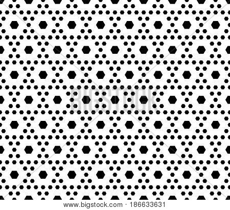Vector monochrome texture, black & white geometric seamless pattern with different sized hexagons, repeat hexagonal grid. Stylish modern geometrical background. Design for prints, textile, digital, web