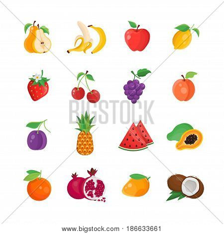 Natural Food - modern color vector single line icons set. Pear, banana, apple, lemon, strawberry, cherry, grape, apricot, plum, pineapple, water melon, king fruit, mango, coconut, orange