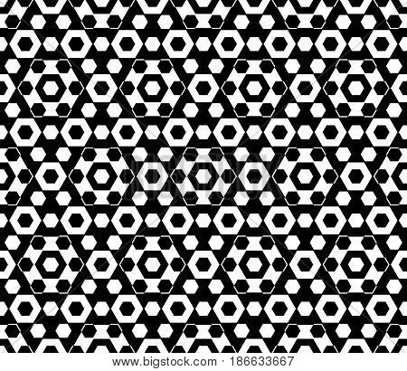 Vector monochrome texture, black & white hexagonal geometric, seamless pattern. Stylish abstract background with different sized hexagons, symmetric structure. Design for textile, cover, wrapping