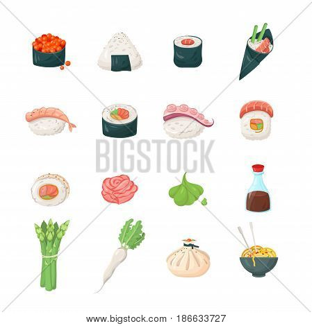 Sushi - modern color vector single line icons set. Roll, rice, shrimp, fish, noodles, sauce, soy, asparagus, ginger, plant, wasabi, octopus, radish, Japanese, tradition, oriental, exotic