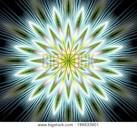 Vector fantasy flower mandala, closeup in fractal style, gritty colorful rays on black background, vector EPS 10