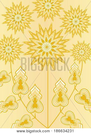 Yellow fantasy flower on light yellow background, line art illustration, template for poster, invitation, congratulation, birthday, vector EPS 10