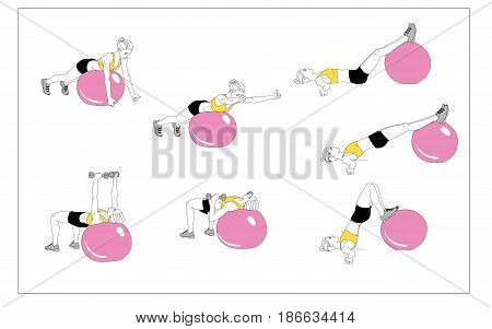 The girl is doing sports exercises with fitness ball . Sequence of movements on a white background