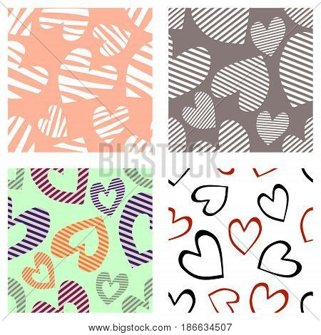 Set Of Seamless Vector Patterns With Hearts. Background With Hand Drawn Ornamental Symbols. Template