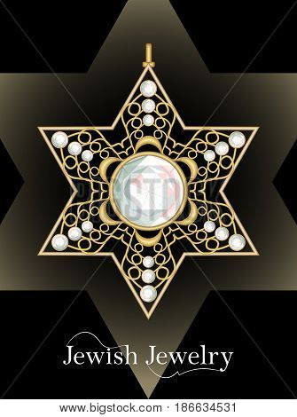Golden luxury pendant, David star with rich filigree ornaments and cut diamonds, isolated jewel, historic jew symbol magen, vector EPS 10