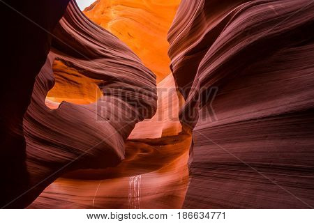 Beautiful wide angle view of amazing sandstone formations in famous Antelope Canyon on a sunny day with blue sky near the old town of Page at Lake Powell American Southwest Arizona USA