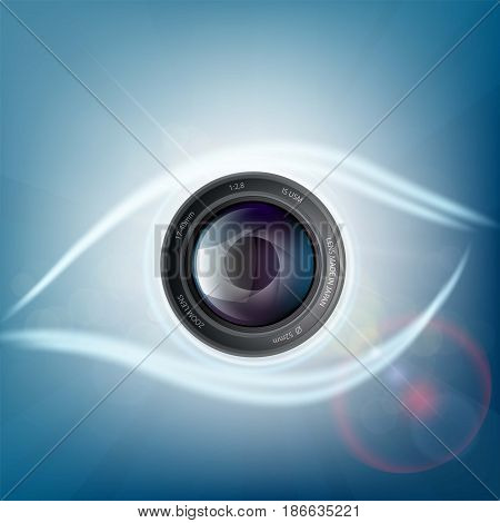 Camera lens is in the form of a human eye. Aperture shutters. Stock vector illustration.