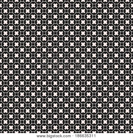 Vector seamless pattern, stylish monochrome geometric texture with tiny smooth crosses, outline circular grid. Abstract dark repeat background for tileable print, decor, covers, fabric, digital, web