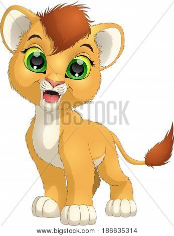 Vector illustration, funny lion on a white background