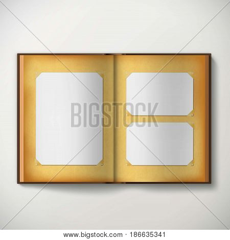 Old vintage photo album with empty blank frames. Stock vector illustration.