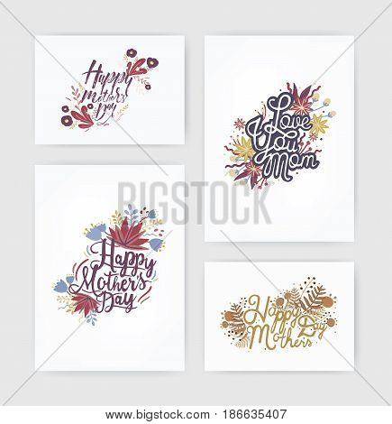 Set of horizontal and vertical postcards with inscription happy mother s day and love you mom. Card with hand drawn lettering and flowers on white background