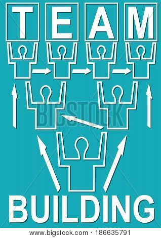 Team building banner with people mono line silhouettes on trendy green background, headline. arrangement of figures in the shape of a tree, vector EPS 10