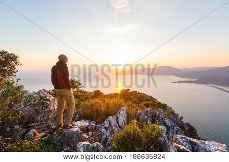 Man on the sheer cliff