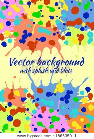 Vector Watercolor Background With Colorful Ink Blots, Splash And Brush Strokes. Colorful Creative Ar