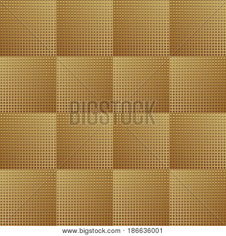 Optical art background with 3d illusion, golden gradient grid in checker design, vector EPS 10