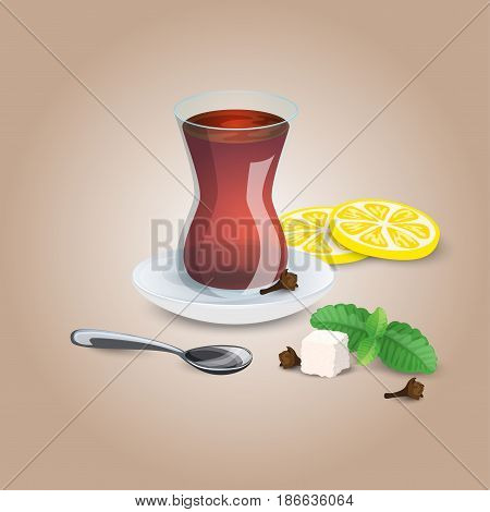 Cup of tea. Black mint lemon tea tea spoon. Iillustration for cafe menu restaurant list. Sugar cube and lemon slices. On a light background