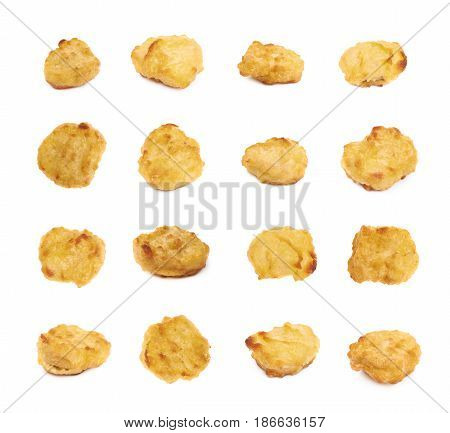 Breaded chicken nugget isolated over the white background, set of multiple different foreshortenings