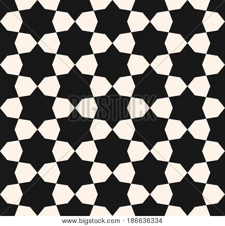 Vector seamless texture, monochrome geometric pattern with simple geometrical shapes, hexagons, stars. Elegant abstract background for tileable print, decor, fabric, furniture, textile, package, covers
