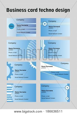 Business card set in techno design, blue collection of simple backgrounds, vector EPS 10
