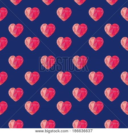 Low poly crystal bright pink hearts seamless pattern. Good for Valentine s day gifts packs wallpaper invitations.