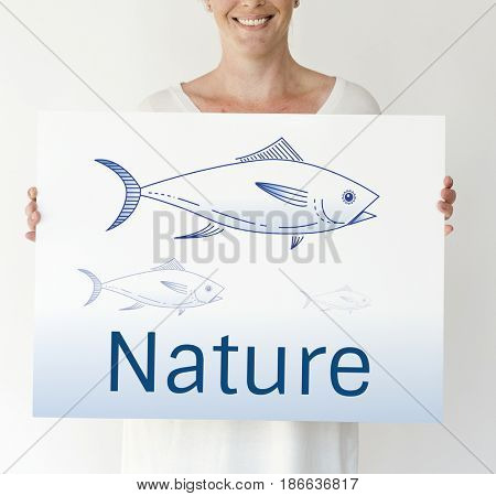 Woman Holding Fish Placard