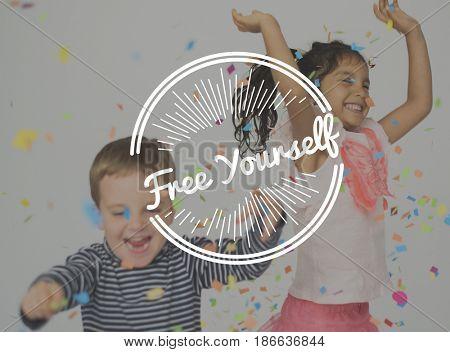 Kids Enjoy Freedom Word Stamp Banner Graphic