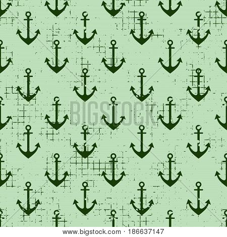 Vector Seamless Patterns Background With Anchor Creative Geometric Vintage Backgrounds, Nautical The