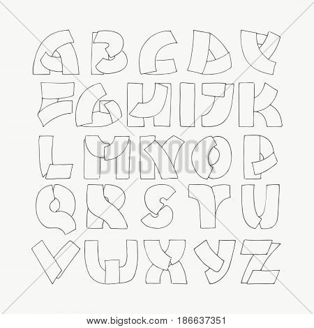 2d Hand Drawn Alphabet Letters From A To Z In Simple Outline Style Decorative Calligraphy