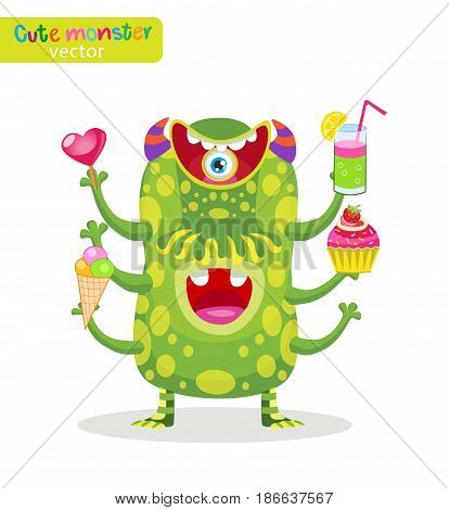 Sweet Toothpiece. Cute Food Monsters Vector Illustration. Funny Cartoon Character. Man Of Pleasure. Heavy Eater Vector Mascot.