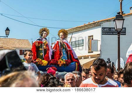 Saintes-Maries-de-la-Mer, France - May 25, 2015. Religious feast in honor of the Holy Maries in Provence. The procession goes to the seashore. The concept of ethnographic tourism