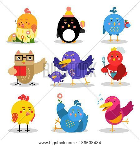Cute cartoon birds in different situations, colorful characters vector Illustrations isolated on a white background
