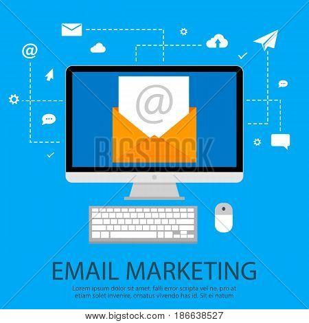 Email marketing concept. Vector illustration, flat modern design
