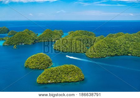 Beautiful view of Palau tropical islands and Pacific ocean from above