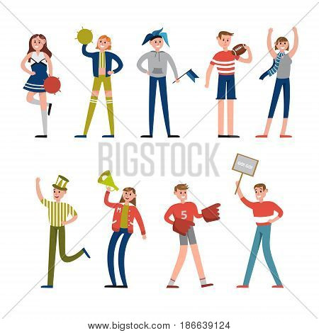 Happy sport fans and supporters characters. Support for baseball team vector Illustrations isolated on a white background