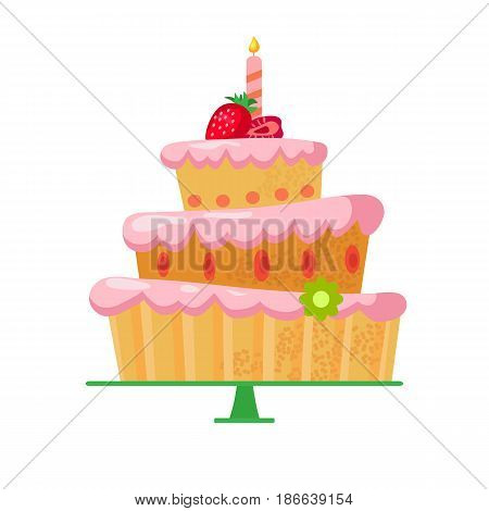 Beautiful bright cartoon cake with red strawberries, a candle and a flower.Three tiers.Tasty sweets with pink cream.Vector illustration for children's greeting card on birthday or other holiday.Dessert