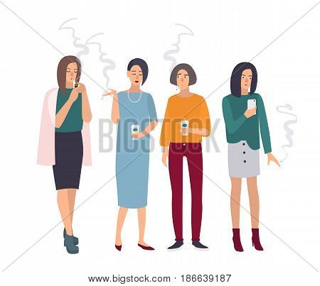 Smoking room. Girls on smoke break. Woman with cigarettes. Vector illustration in flat style