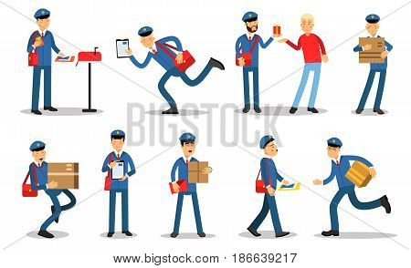 Postman characters in different situations set. Mailmen in different situations doing their job cartoon vector Illustrations isolated on white background