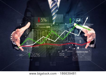 Detailed financial plan in the hands of a businessman