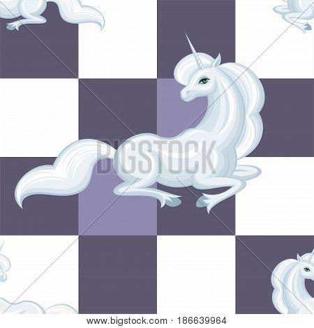 White Unicorn Seamless Pattern.eps