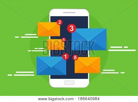 Smartphone receives e-mail. Vector illustration, email marketin concept