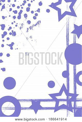 Vector drawn background with frame, border. Grunge template with geometric figures, splash, spray attrition, cracks Old style vintage design. Graphic illustration. a4 size format, vertical orientation