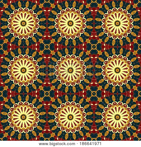 Vector seamless pattern. Colorful ethnic ornament. Arabesque style