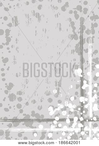 Vector drawn background with frame, border. Grunge template with splash, spray attrition, cracks. Old style vintage design. Graphic illustration. a4 size format, vertical orientation