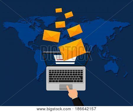 Vector modern flat design of email marketing. Laptop with envelope. Vector illustration.